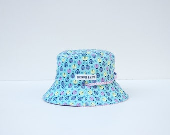 Baby Sunhat Reversible with strap - Ladybugs (6-12 months)