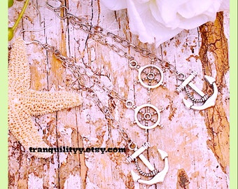 Anchor and Ship Wheel Earrings Ocean Winds Dangle Nautical Earrings, Hipster, Handmade By: Tranquilityy