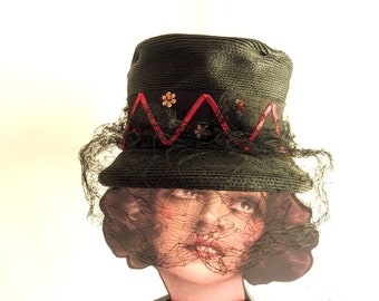 30s Ladies Black Straw Top hat, Mary Poppins Style, Victorian Riding Hat, Dickens Fair, 1930s Fashions, Jackpot Jen Vintage