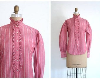 70s high neck prairie blouse - 80s oxford cloth ruffled blouse / dusty rose striped ladies shirt / Nell Flowers - vintage 80s blouse