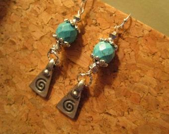 Boho Fab: OOAK Dangle/Drop Mykonos LABYRINTH Silver Casting, Real Turquoise & STERLING Silver Pierced Vintage Earrings