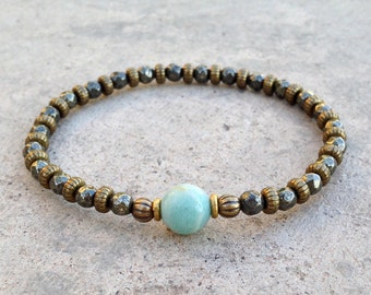 "Pyrite and Amazonite ""Confidence and Positivity""  Delicate Bracelet"