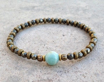 "Pyrite and Amazonite fine faceted ""confidence and positivity"" bracelet"