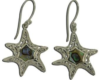 Sea Starfish Abalone Paua Shell Sterling Silver 925 Earrings EA297 FBA