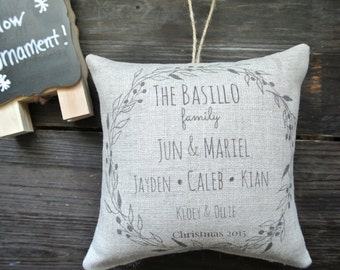 Personalized Family Ornament, Rustic Christmas, Personalized Ornament, Personalized Pillow Ornament, Country Christmas, Personalized Pillow