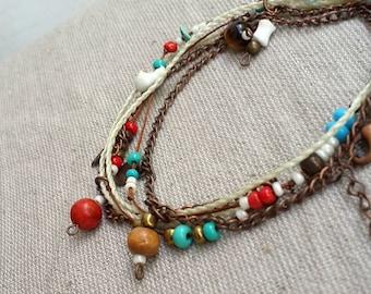 Wedding white wrap bracelet or necklace bridesmaid bracelet beaded jewel tagt team