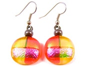 Dichroic Earrings Orange Yellow Pink Green - Striped Dichro Rock Drop Dangle Surgical Steel French Wire or Clip On - Fused Glass - 3/4""