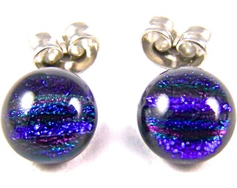 """Tiny Dichroic Studs Earrings - 1/4"""" - Cobalt Blue Purple Violet Striped Reed Dichro Fused Glass Stud Post .25"""" 6mm"""