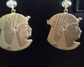 Egyptian Queen Vintage Brass Earrings