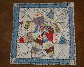 STARLIGHT - Embellished Vintage Quilt Square
