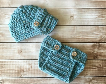 The Oliver Newsboy Cap in Sea Blue Tweed with Matching Diaper Cover Available in Newborn to 24 Months Size- MADE TO ORDER