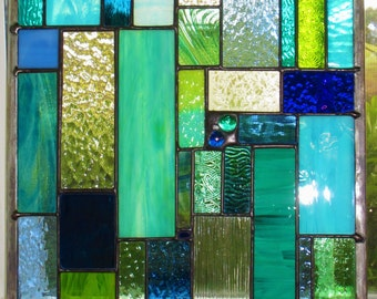 Sea Glass Ocean Stained Glass Window