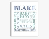 CANVAS ART Baby Boy Gift: Baby Name Art Print Birth Announcement Poster in Blue Green or Customize Colors