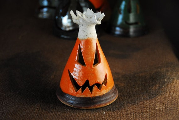 Candy Corn Ghost Lantern