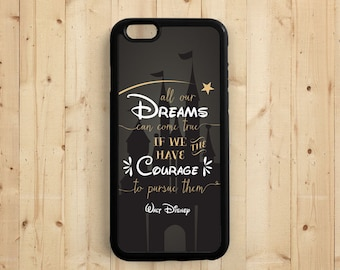 Dream Quote iPhone Case, Walt Disney Quote on Chalkboard, All Dream Can Come True, iPhone 7 5C 5S 6 , Samsung Galaxy S6 S5, Note 3 4 Qt61