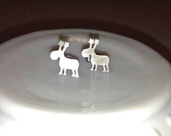 Reindeer stud earrings Silver or Gold Holiday earrings Rudolph earrings