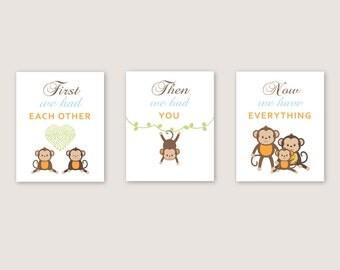 Monkey Decor | Monkey CANVAS Art | Baby boy | nursery decor | Monkey Wall Art| First we had each other| set of 3 | YassisPlace
