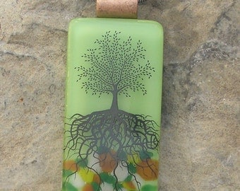 Earthy Green Tree of Life Necklace Fused Glass Tree Pendant