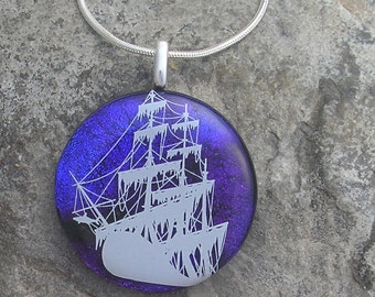 Pirate Ship Pendant Dichroic Fused Glass Ship Necklace