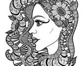 WRAPPED IN BEAUTY - Coloring Page Zentangle Line Art Decorative Doodle Illustration Cartoon Portrait Woman Face Profile Floral Flowers Hair