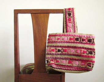 Brown Burlap and Pink Yarn Purse, Bag