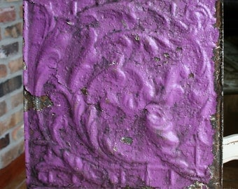 "Genuine Antique Ceiling Tile -- 12""x12"" -- Original Rusty Purple Paint -- Swirling Vines Design"