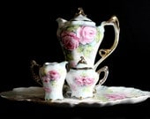 Artist Signed Chocolate Pot or Shabby Teapot  - European Design Shabby Pink Roses, Creamer Sugar Tray 12711