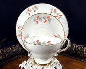 Crown Staffordshire Orange Berries / Grapes Tea Cup Trio, English Teacup Saucer and Side Plate J-185