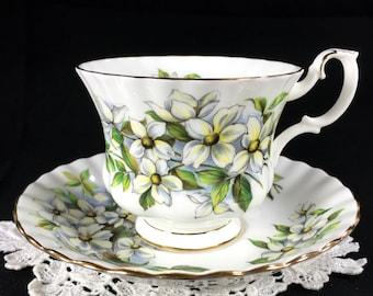 Royal Albert Teacup and Saucer, English Floral Bone China Tea Cup, Pacific Dogwood Rose 12694