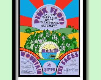 Pink Floyd Poster. Crystal Palace promo poster. Large Pink Floyd wall art . 70s gig poster. Classic rock. Vintage Pink Floyd. Vintage Rock