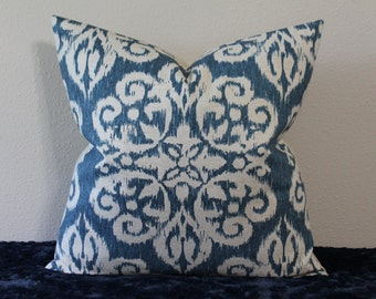 """Spicer Ivy Basket Weave Ikat Pillow Cover in Lapis Blue - 18"""" or 20"""" Square Sizes - Decorative Designer Pillow Cover"""