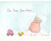 Fine Art Archival PRINT from my Original Owl Illustration Watercolor Painting, ee cummings quote