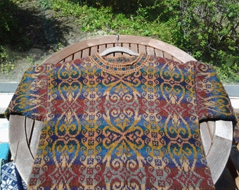 Knitted Alice Starmore Fairisle bulky sweater in hebrides multicolor wool