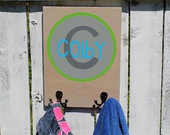 """12"""" X 16"""" Custom Kids Organization - Coat rack - Towel hook - Bathroom rack - Backpack hook"""