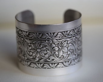 Flower Blossom Bracelet,Victorian Floral Cuff,Silver Bracelet,Cuff Bracelet,Silver,Bracelet,Wedding,Bride.Mother's Day Gift,Gift for he