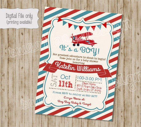 Vintage Airplane Birthday Party Airplane Baby Shower: Airplane Baby Shower Invitation Plane Baby Shower Invitation