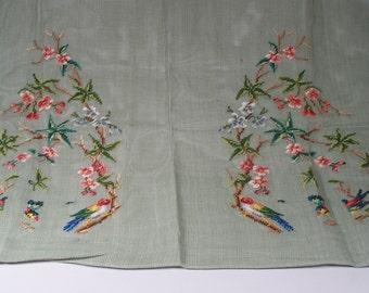 Needlepoint Vest Kit - Birds & Flowers Cotton Canvas plus 27 Skeins of English 100% Virgin Wool in Ice Blue