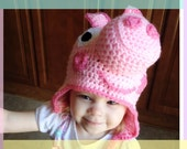 Crochet Pig Hat / Handmade Character Pig Hat / Pig Earflap Hat / Pig Costume / Animal Hat /Pig Beanie All Sizes Newborn Baby Kids Adult