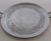 Vintage Tray, Round Hammered Aluminum with 2 Handles, Grape Motif