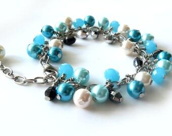 Blue Hues - Czech Beads Charm Bracelet OOAK