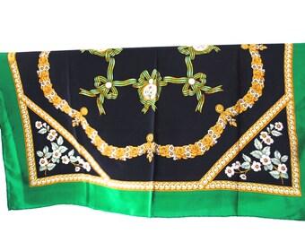 SALE Vintage Aquascutum Classic Navy Green Silk Scarf