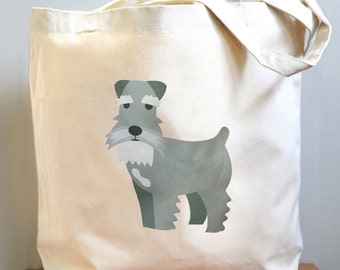 Schnauzer canvas tote bag, Schnauzer tote bag, gifts for dog lovers, Schnauzer gifts