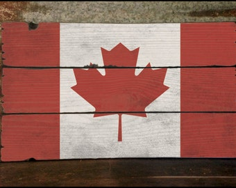 "Large ""Canadian Flag"" Handcrafted Rustic Wood Sign - Original Alpine Graphics Design - 3 Sizes - 3006"