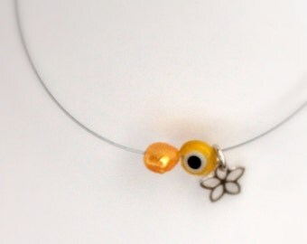 tiny flower bracelet- yellow silver evil eye bracelet- thin thread bracelet- tiny minimal flower-