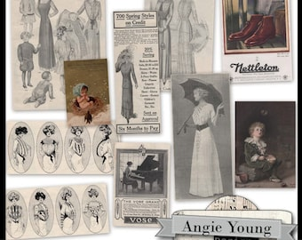 Vintage Clippings #2 - Digital Art Supplies By Angie Young