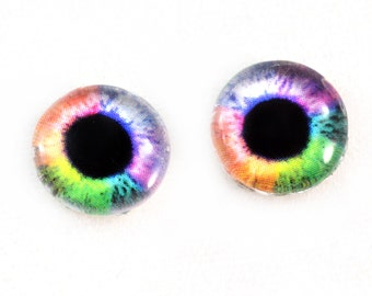 10mm Colorful Rainbow Glass Eyes Taxidermy Cabochons - Fantasy Eyes for Jewelry Making or Sculptures - Set of 2