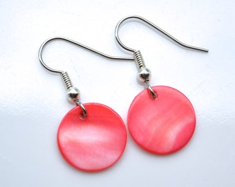 Clearance Sale . Red Mother of Pearl Drops . Earrings