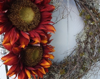 Twig Wreath      Lichen Wreath  Natural Wreath  Hand Crafted Wreath  Front Door Wreath  Sunflower Wreath  Autumn Wreath