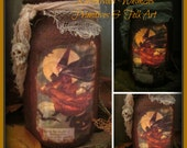 Primitive Halloween Candle, Prim Halloween, Halloween, candle, jars