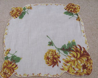 Beautiful Large White Yellow Floral Cotton Hankie Handkerchief